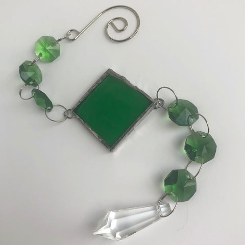 Emerald Green Rainbow Maker - Crystal Sun Catcher with Stained Glass Panel