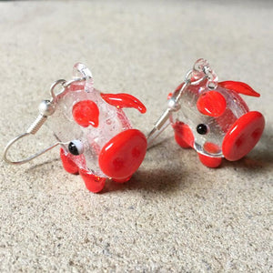 Red Piggy Dangly Earrings