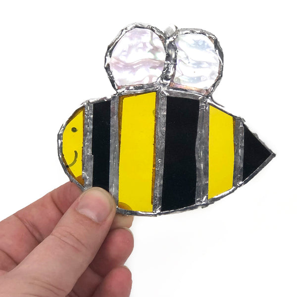 Honey Bee Window Charm, Stained Glass Bumble Bee Decoration, Manchester Bee Memorial Decor, Fun Gift for Bee Lover, Save the Bees, Beekeeper