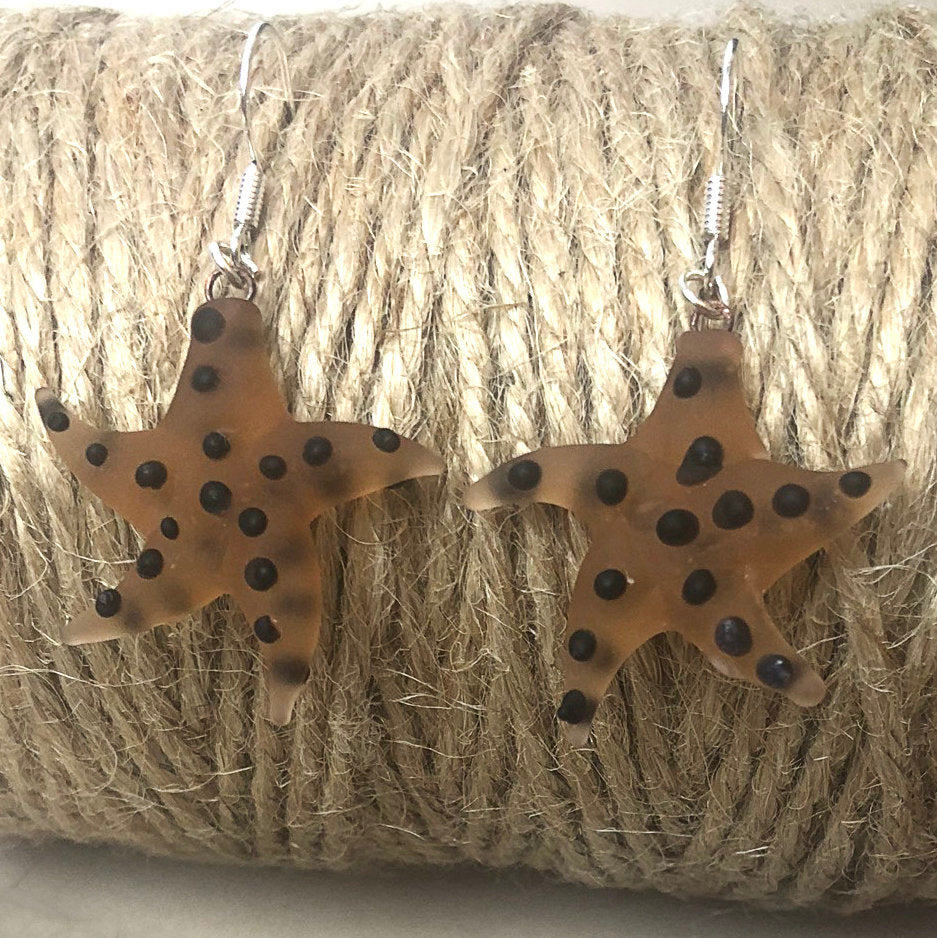 Starfish Glass & Sterling Silver Earrings - Beach Themed Jewellery