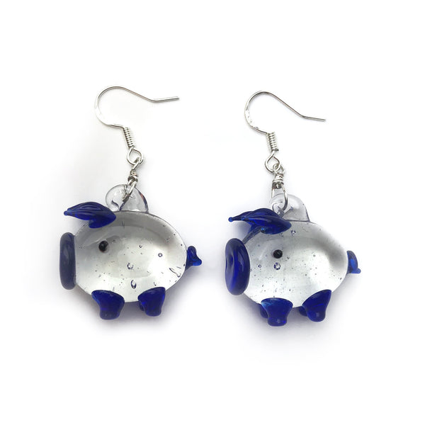 Blue Glass Piggy Earrings, Pig Themed Jewellery, Handmade Lampwork Glass, Sterling Silver Hypoallergenic Ear Wires, Gift for Pig Collector