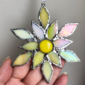 Iridescent Yellow Flower, Stained Glass Window Decoration Gift