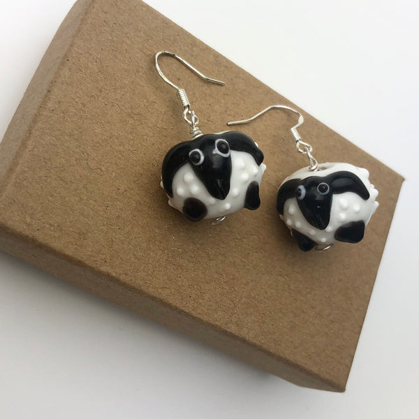 Woolly Sheep Dangle Earrings, Handmade Glass Wooly Sheep, Sterling Silver Ear Hooks, Fun Farm Theme Gift Idea, Lamb Stocking Stuffer Present