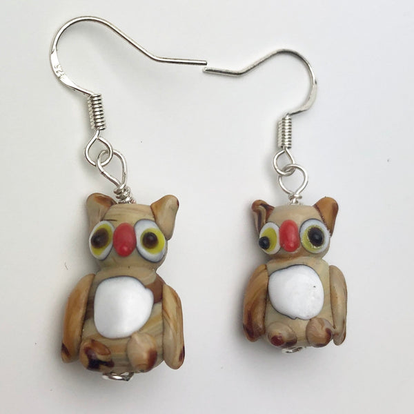 Brown Owl Dangle Earrings, Lampwork Glass Handmade Owl Charms, Sterling Silver Ear Wires, Ornithology Bird Lover Secret Santa Gift Idea
