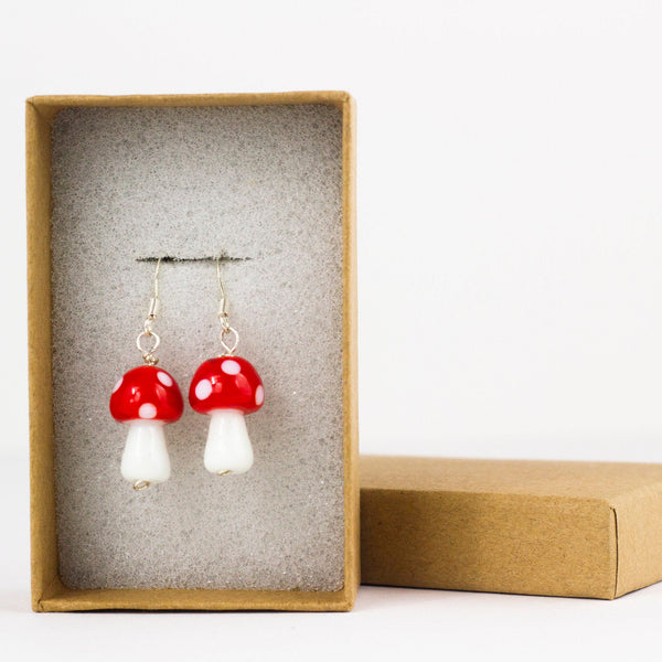 Red and White Mushroom, Sterling Silver and Lampwork Glass Dangle