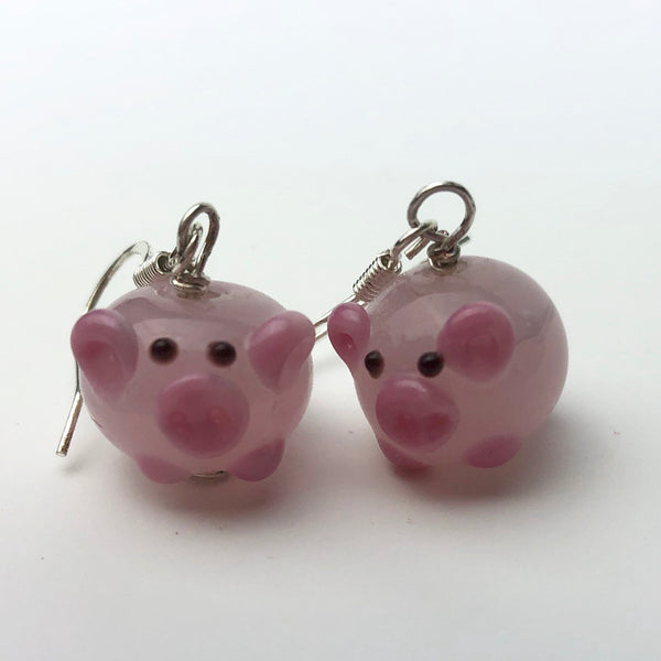 Pink Pig Earrings, Sterling Silver and Lampwork Glass Dangle