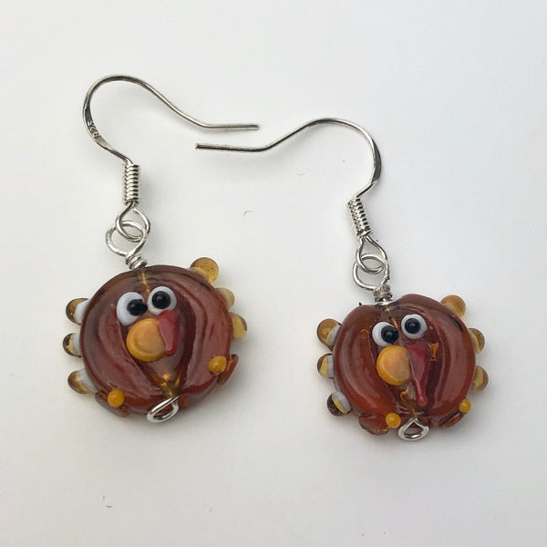 Turkey Earrings, Sterling Silver and Lampwork Glass Dangle, Thanksgiving and Christmas Novelty Jewelry
