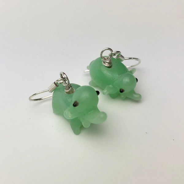 Jade Green Elephant Earrings, Sterling Silver and Lampwork Glass Dangle