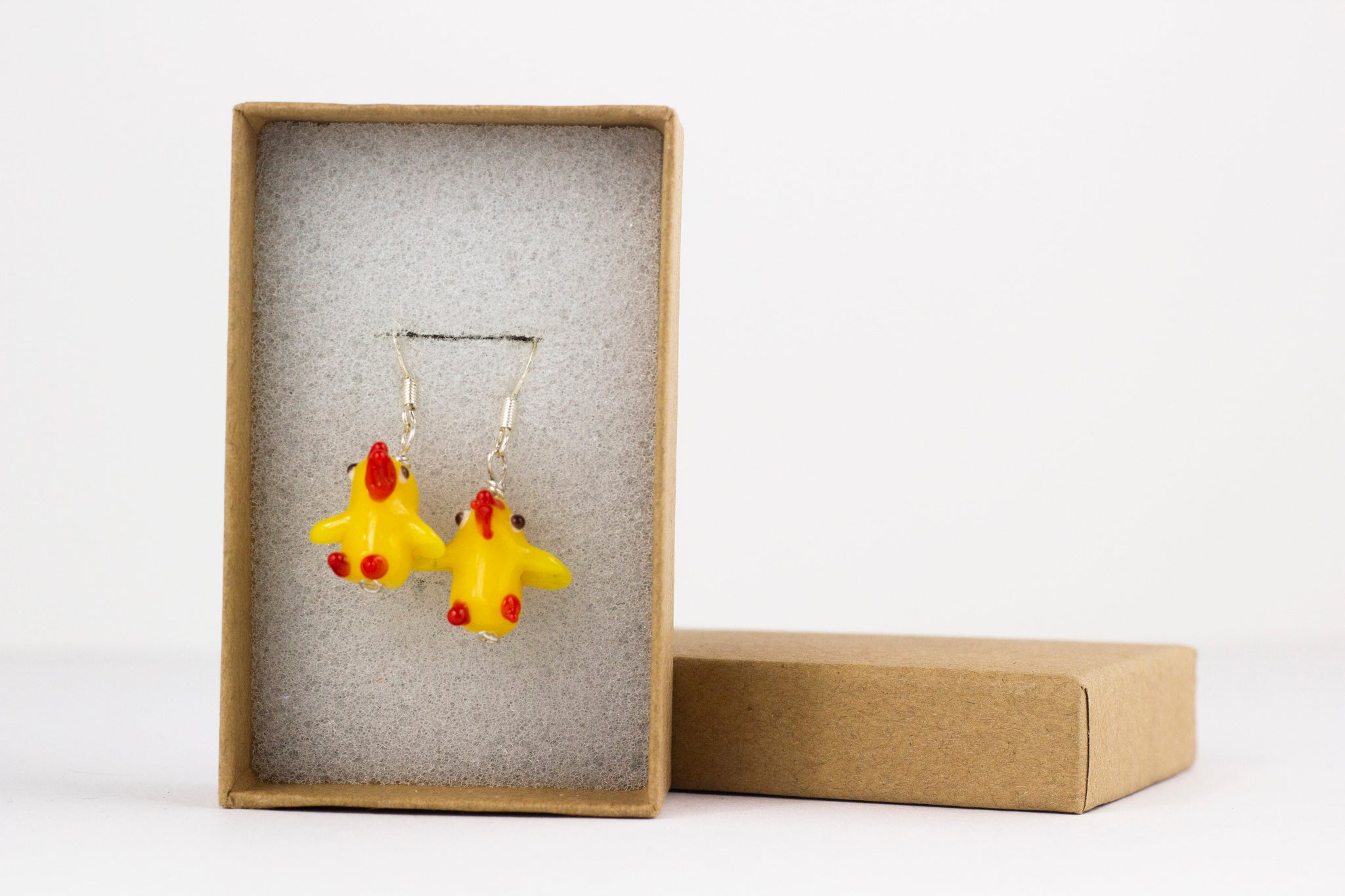Yellow Rooster Earrings, Sterling Silver and Lampwork Glass Dangle