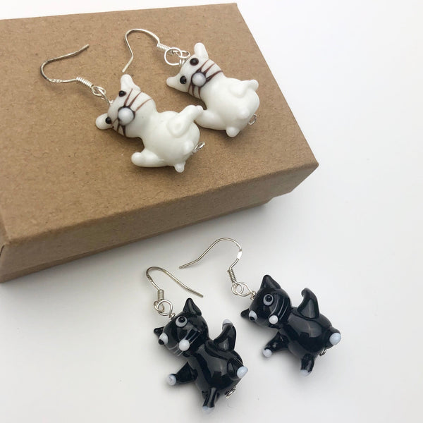 White Cat Earrings, Sterling Silver Ear Wires & Handmade Glass Cats, Cat Lover Gift, Fun Kitty Jewellery, Novelty Kitten Pet Present Idea