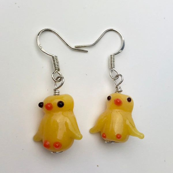 Yellow Duck Earrings, Sterling Silver and Lampwork Glass Dangle