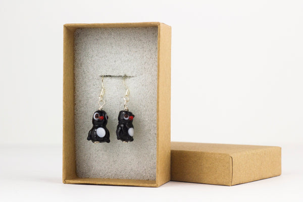 Penguin Earrings, Sterling Silver and Lampwork Glass Dangle