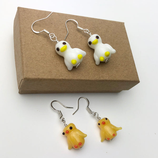 White Ducks Earrings, Sterling Silver and Lampwork Glass Dangle