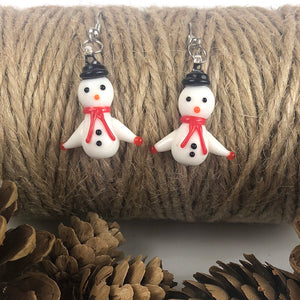 Snowman Earrings- Handmade Glass and Sterling Silver