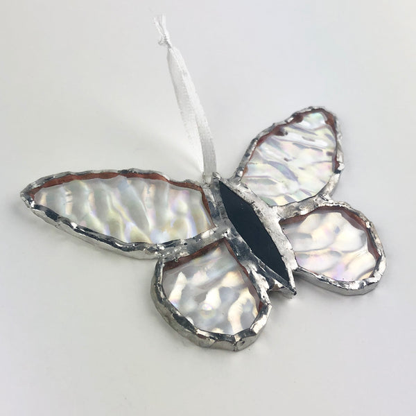 Clear Rainbow Effect Butterfly, Stained Glass Window Ornament