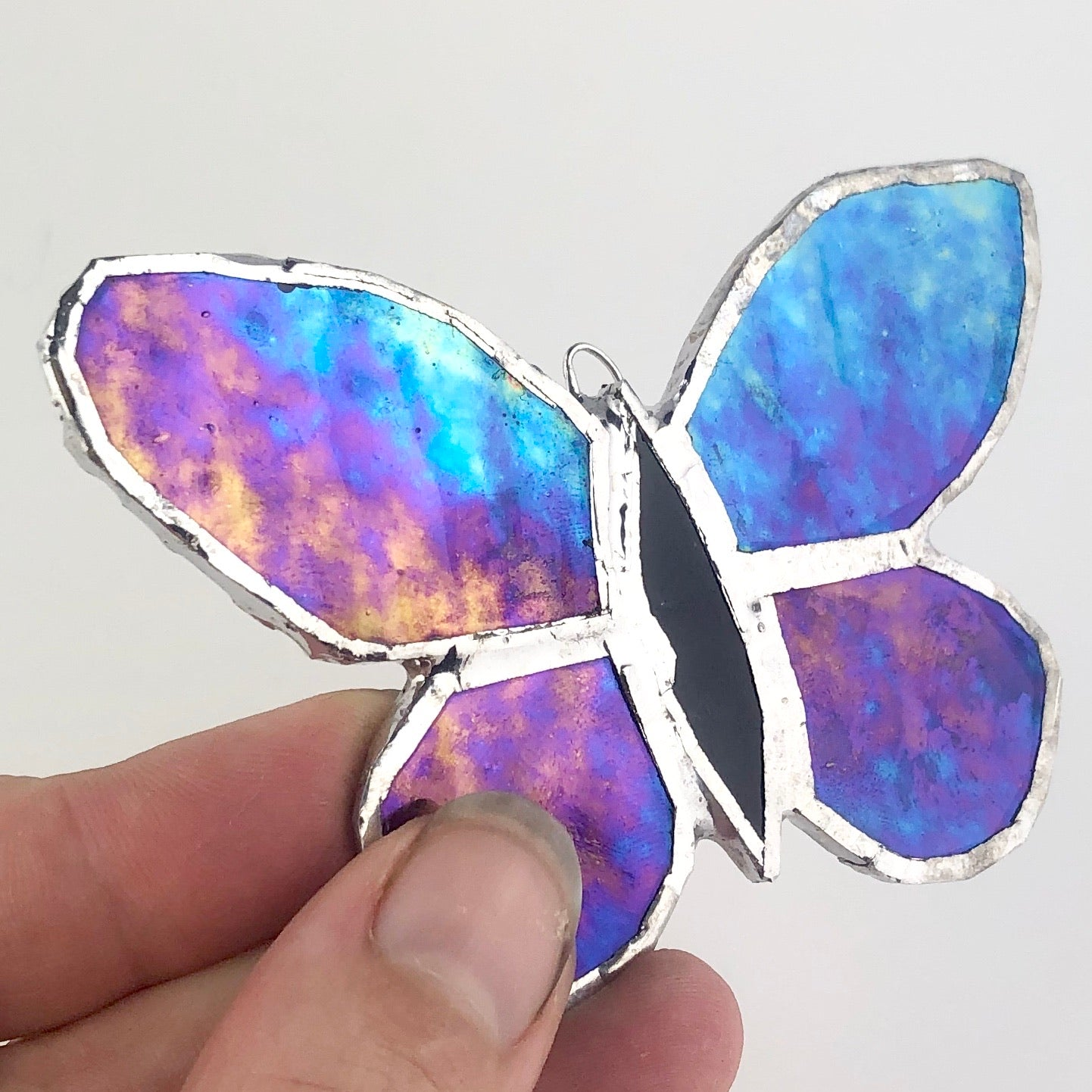 Purple Rainbow Effect Butterfly, Stained Glass Window Ornament, Iridescent Wings