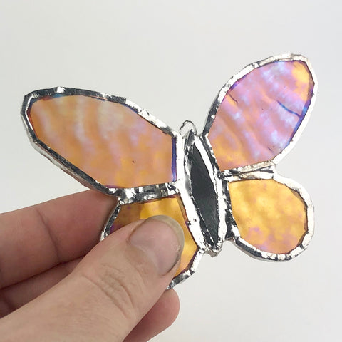 Amber Rainbow Butterfly - Stained Glass Window Ornament