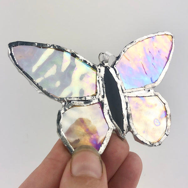 Clear Rainbow Effect Butterfly, Stained Glass Window Ornament, Iridescent Wings