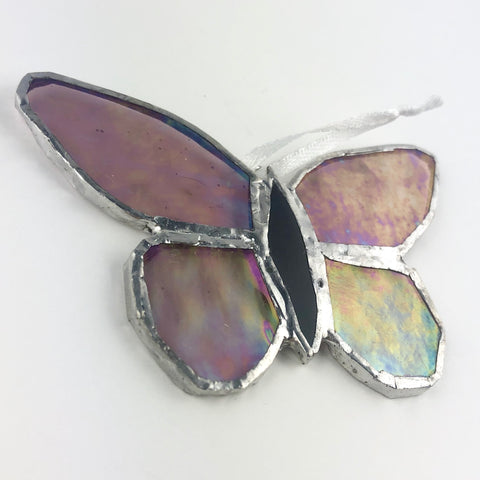Pink Rainbow Effect Butterfly, Stained Glass Window Ornament, Iridescent Wings