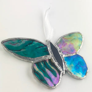 Blue Rainbow Effect Butterfly, Stained Glass Window Ornament, Iridescent Wings
