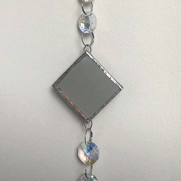 Mirrored Silver Rainbow Maker - Crystal Sun Catcher with Stained Glass Panel