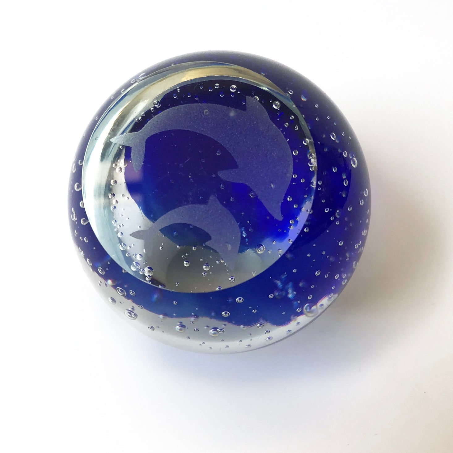 Blue & Clear Glass Paperweight