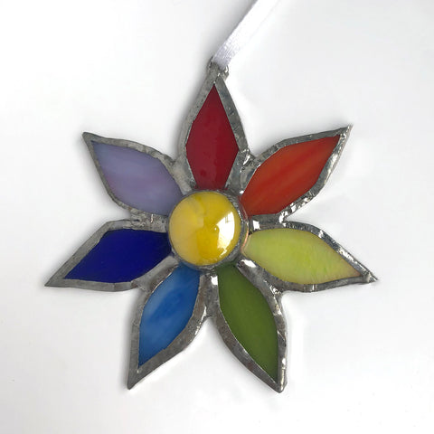 Rainbow Petal Stained Glass Flower Ornament