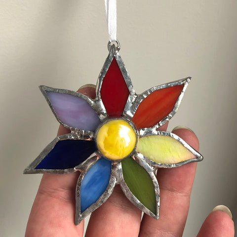 Rainbow Flower Stained Glass Ornament