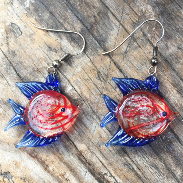 Red & Blue Tropical Fish Earring and Necklace Set ~ Choose Silver Plated or Sterling Silver - Jenny Anne Brooks