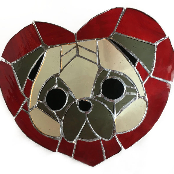 puggy love stained glass window panel pug dog portrait
