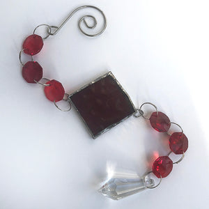 Candy Red Rainbow Maker - Crystal Sun Catcher with Stained Glass Panel