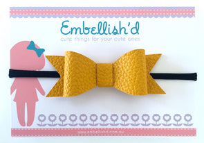 Jeorgia Bow Headband- Mustard Textured