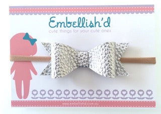 Jeorgia Bow Headband- Silver Textured