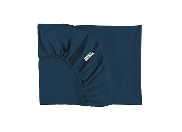 TIBET SINGLE FITTED SHEET - NIGHT BLUE