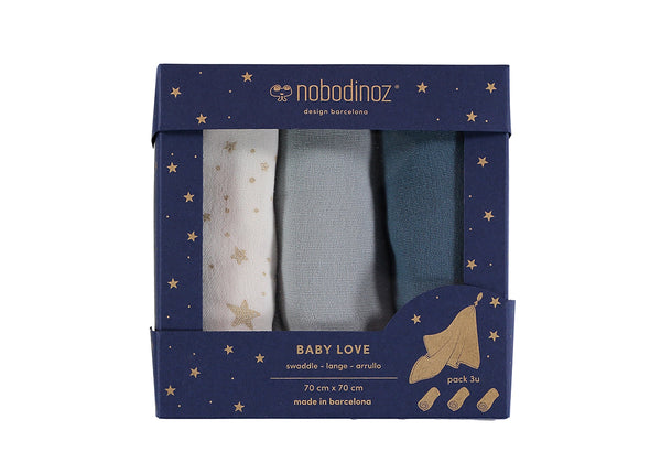 Baby Love Swaddle - GIFT BOX of 3 Night Blue
