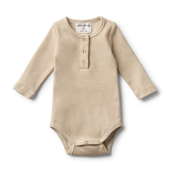 Organic Body Suit - Cinnamon Textured Rib L/S