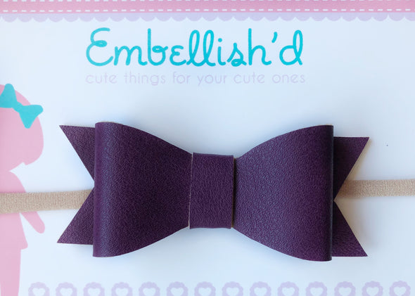 Jeorgia Bow Headband - Purple Berry