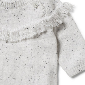 Speckle Knitted Growsuit -Grey