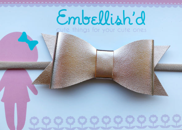 Jeorgia Bow Headband - Rose Gold