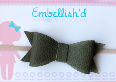 Jeorgia Bow Headband- Olive Textured