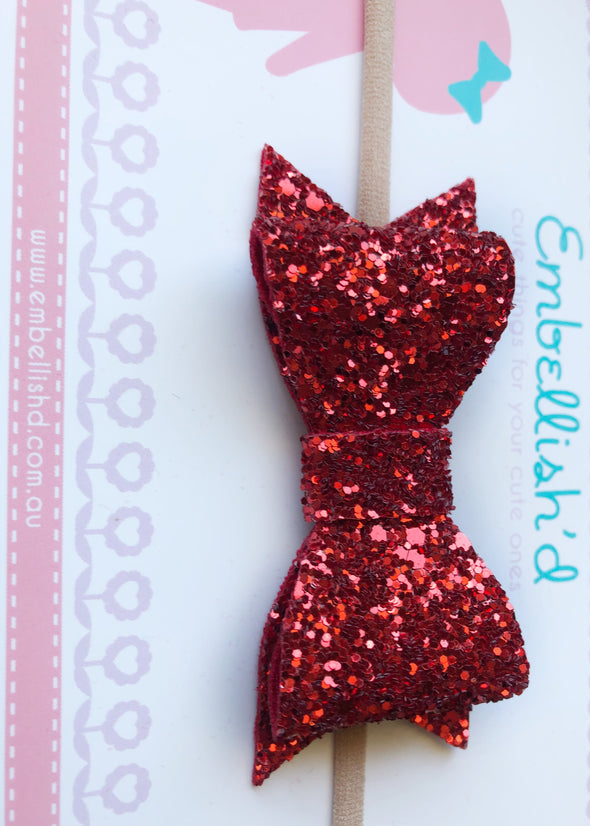 Jeorgia Bow Headband - Ruby LIMITED EDITION!