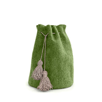 Deluxe High Calabash Santa Sack with Tassles -Olive