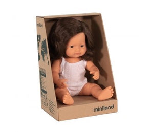 Miniland Caucasian BRUNETTE Girl 38cm Doll | Pre Sale* FEB 2021 Avail
