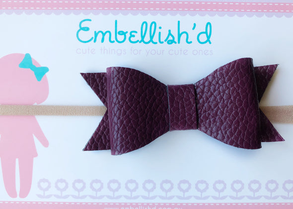 Jeorgia Bow Headband- Plum Textured