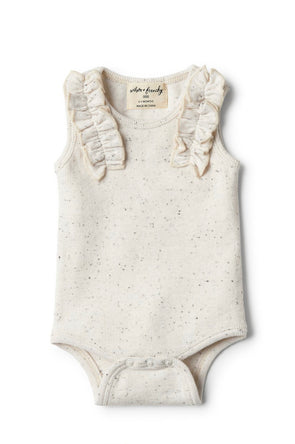 Fleck Bodysuit with Ruffle