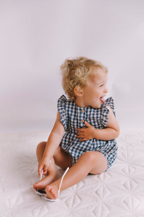 August Playsuit Gingham In Navy
