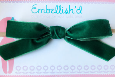 Velvet Bow Headband- Emerald Green