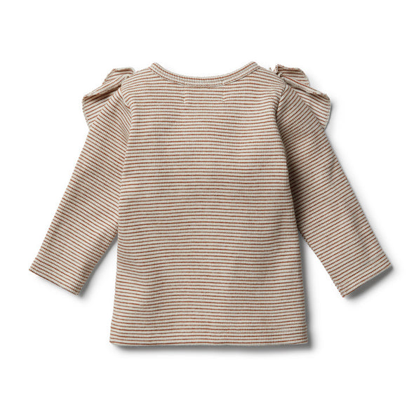Toasted Pecan Cardigan with Ruffle