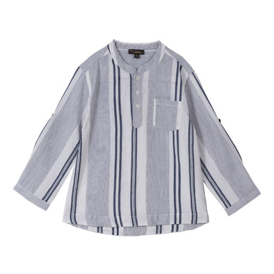 Nitin Top Blue + White Stripes