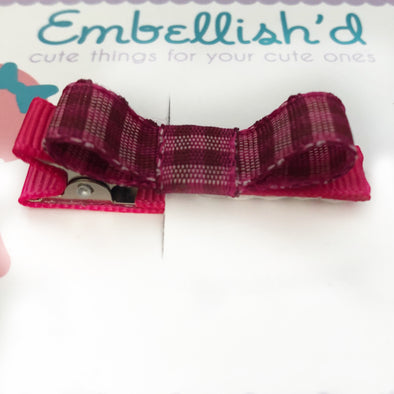 Easy Soft Bow Clips- Tartan bright Pink
